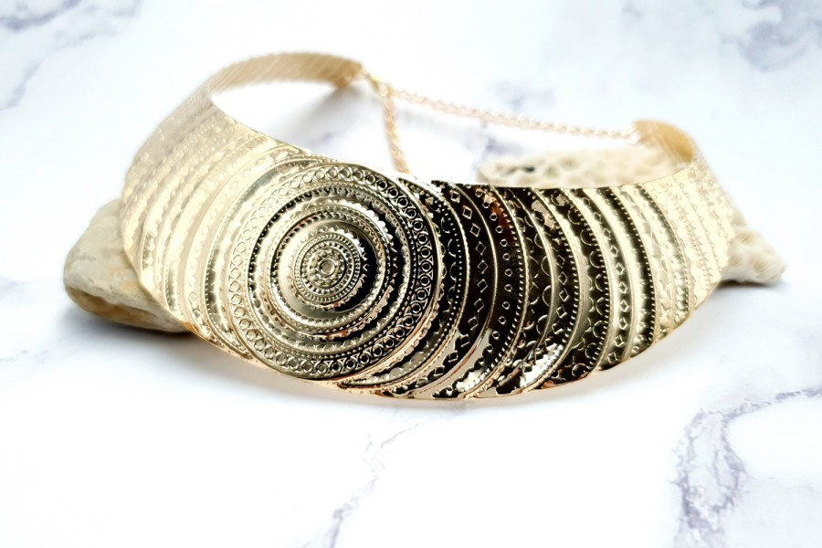 "Necklace Metal Base ""Circles"" Pattern - Gold, 14cm 3"