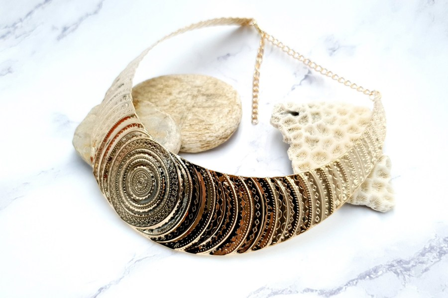 "Necklace Metal Base ""Circles"" Pattern - Gold, 14cm 4"