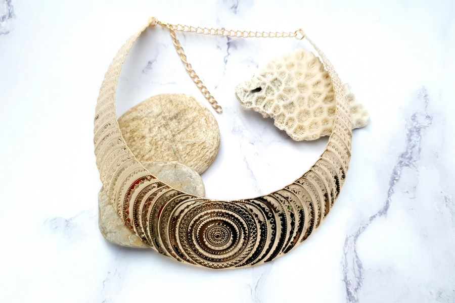 "Necklace Metal Base ""Circles"" Pattern - Gold, 14cm 5"