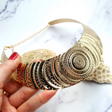 "Necklace Metal Base ""Circles"" Pattern – Gold, 14cm"
