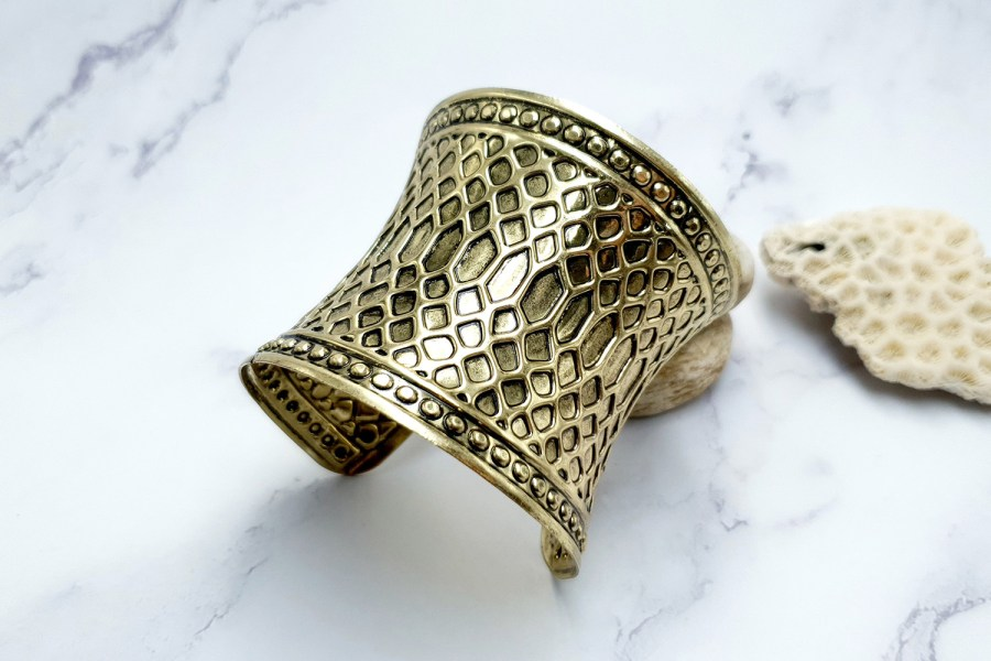 "Bracelet Metal Base ""Snake Skin"" Pattern - aged bronze color, 70mm 3"
