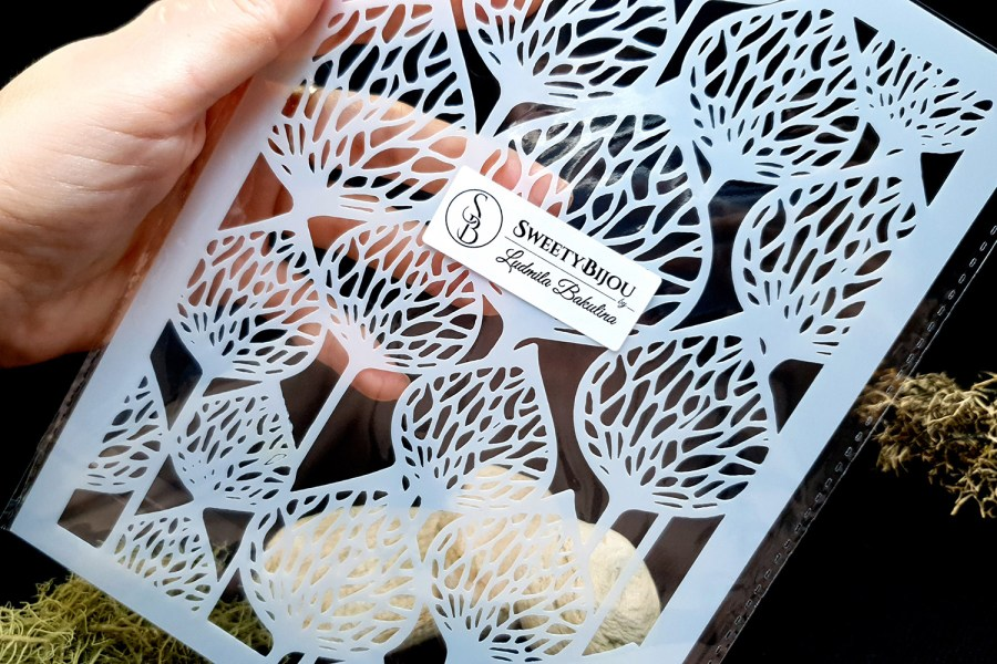 Stencil of Flower Pods Background Pattern 1