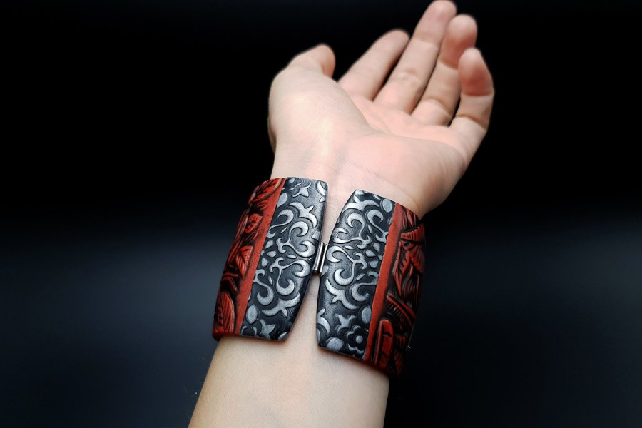 "Bracelet ""Red Wood"" Polymer clay 10"