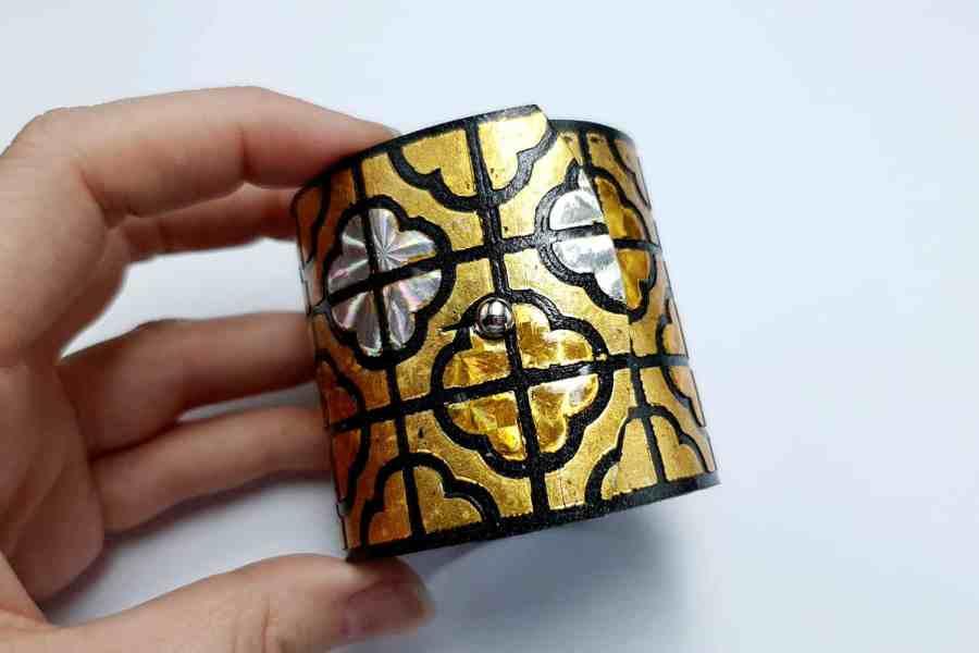 """""""Gold"""" Polymer clay bracelet 11"""