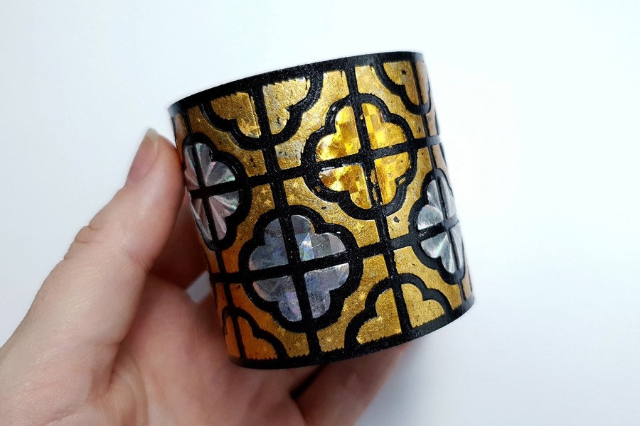 """""""Gold"""" Polymer clay bracelet 4"""