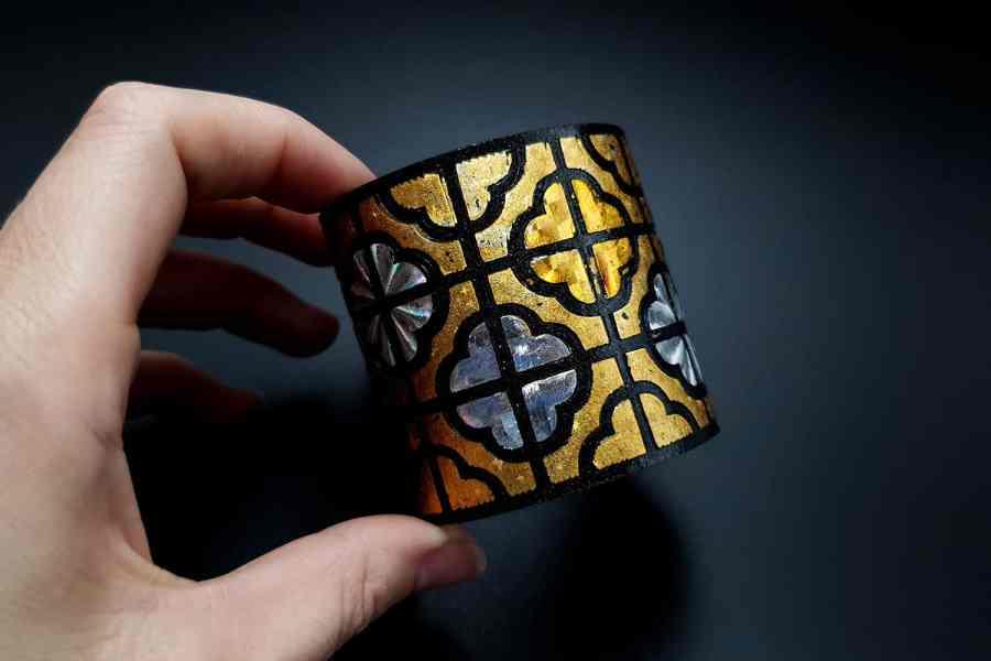 """""""Gold"""" Polymer clay bracelet 9"""