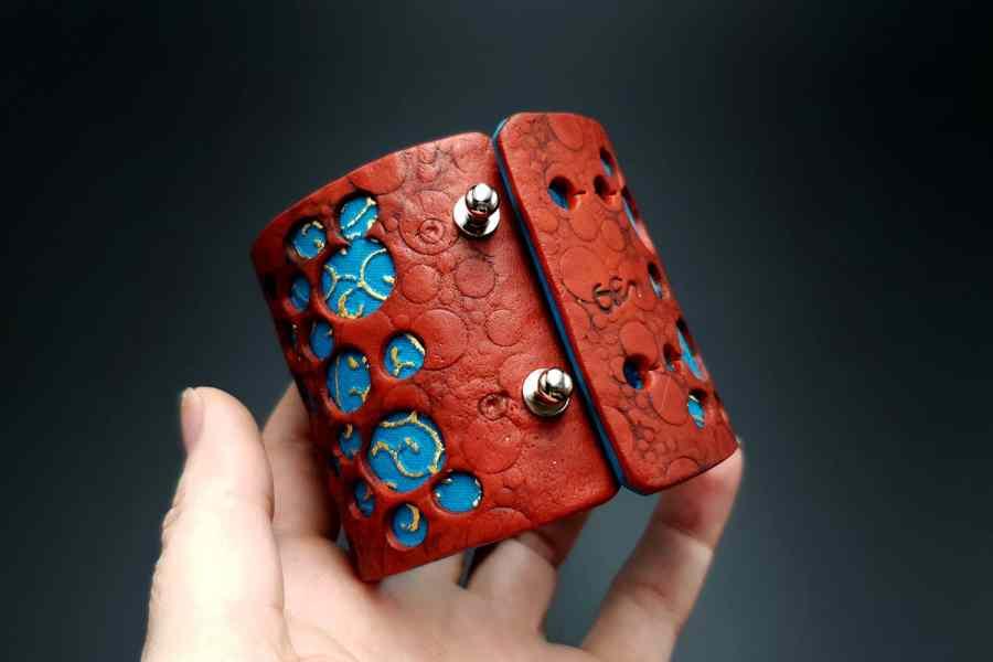 """Blue Flower"" Polymer clay Bracelet 5"