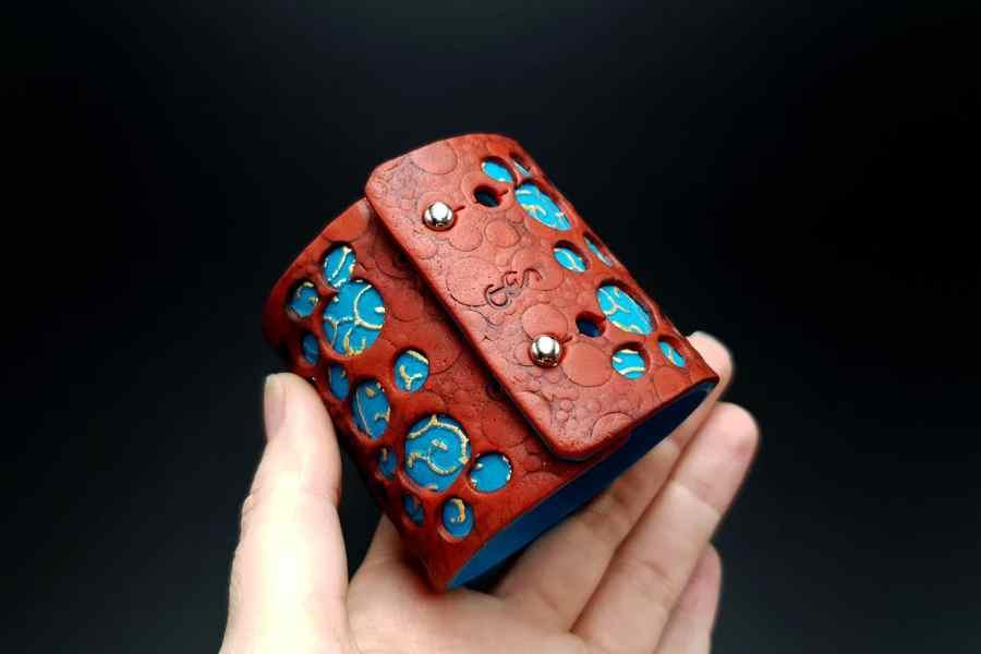 """Blue Flower"" Polymer clay Bracelet 7"