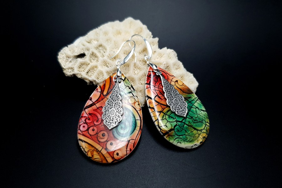 """Fantazy Ceramic"" Polymer clay Earrings 1"