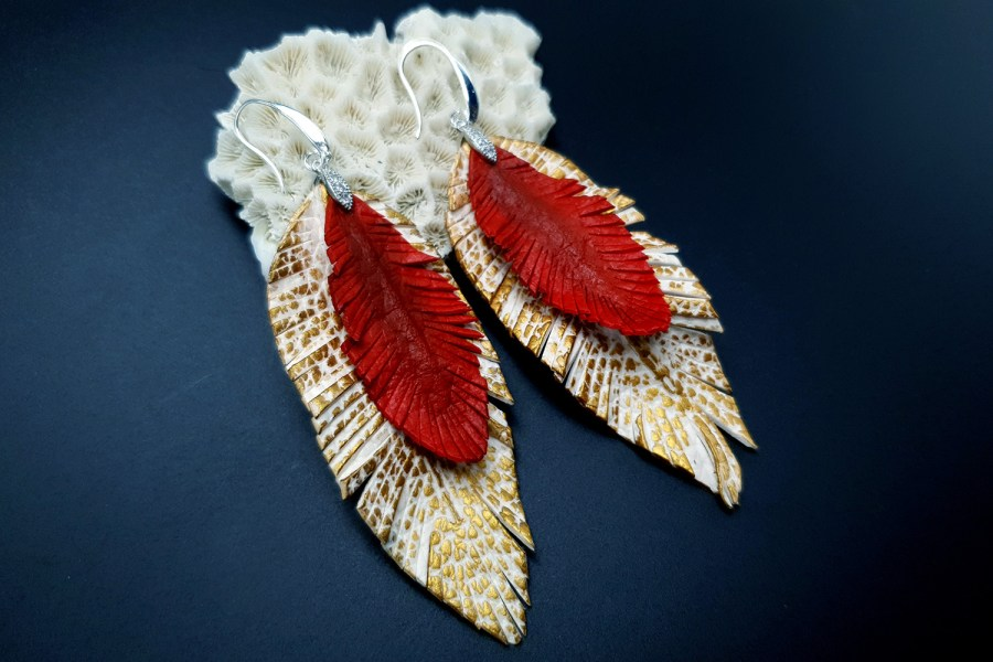 """Feathers"" Faux leather earrings 2"