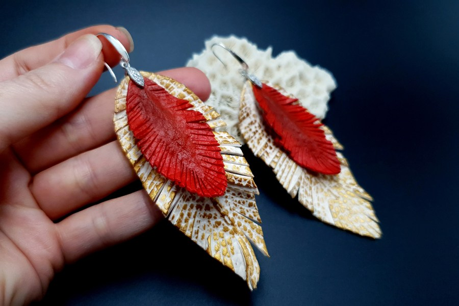 """Feathers"" Faux leather earrings 6"
