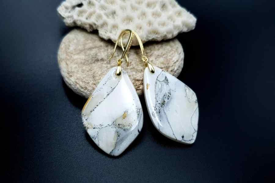 """""""Marble"""" Faux marble earrings 11"""