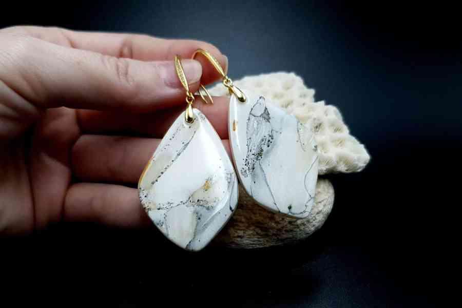 """""""Marble"""" Faux marble earrings 3"""