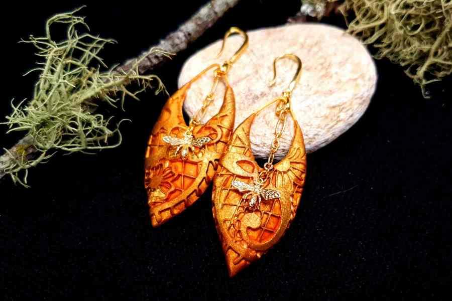 """Earrings """"Eldorado"""" with Bees 1"""