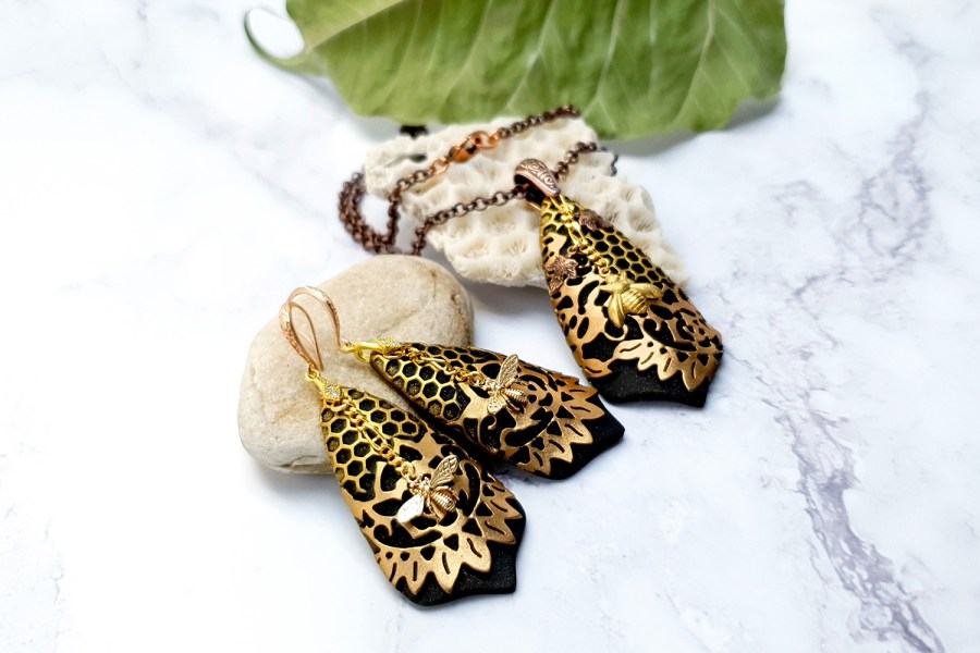 "Jewelry Set ""Golden Bees"" 9"