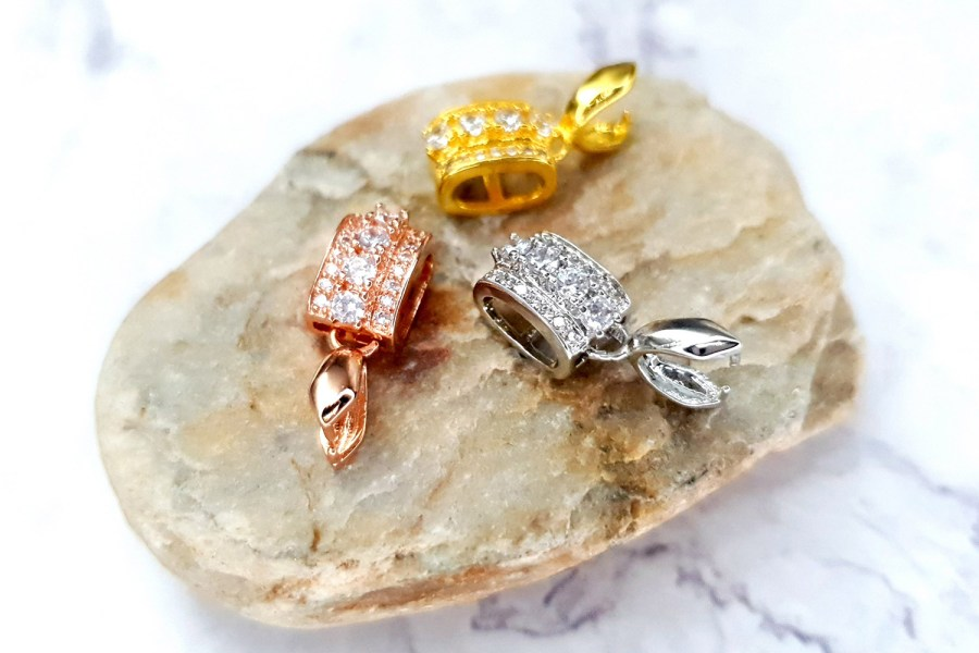 3 Pcs Set Of High Quality 3 Colors Gold Full Of Crystals Pendant Pinch Bail 1