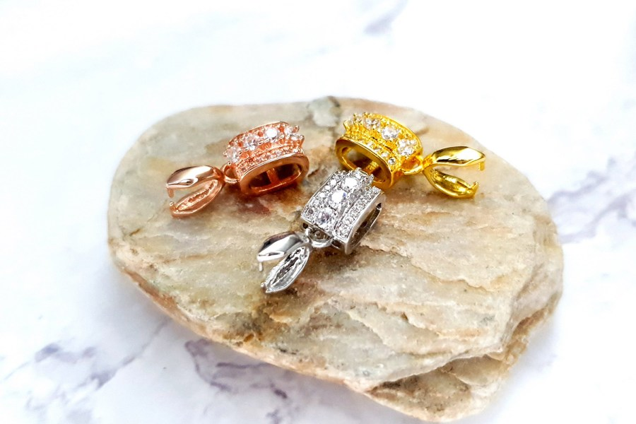 3 Pcs Set Of High Quality 3 Colors Gold Full Of Crystals Pendant Pinch Bail 2