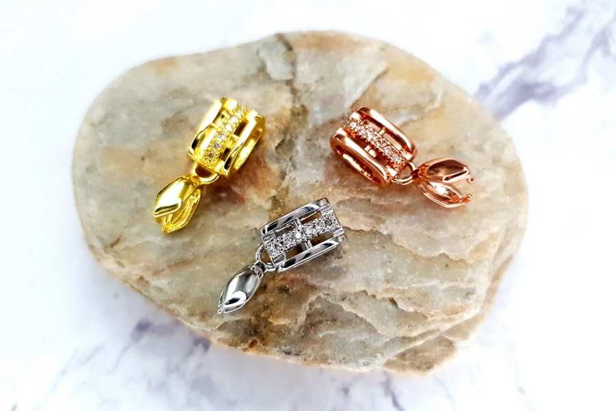 3 Pcs Set Of High Quality Golden, Silver And Rose Gold Crystals Pendant Pinch Bail 3