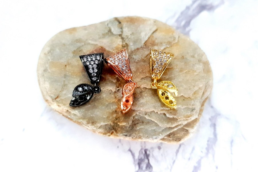3 Pcs Set Of High Quality 3 Color Crystals Pendant Pinch Bail 7