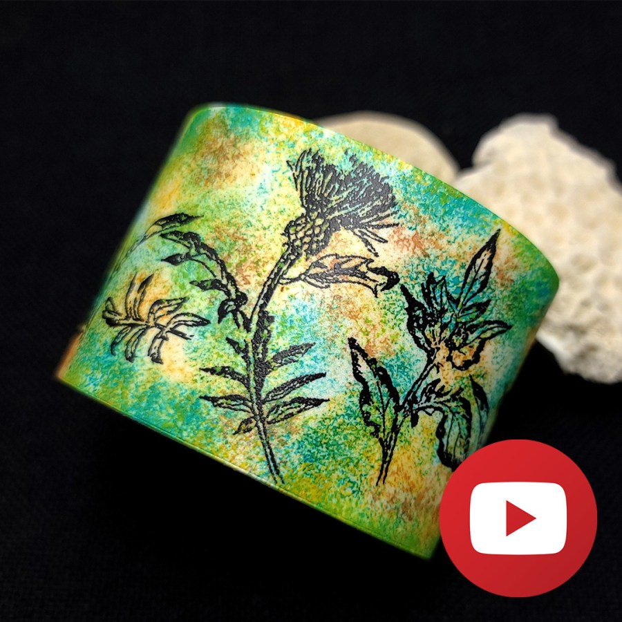 Green bracelet with image transfer technique