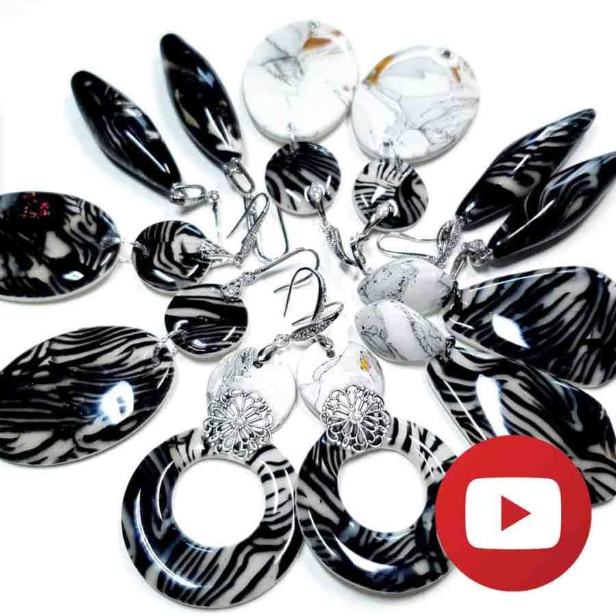 Polymer clay zebra jasper earrings 1