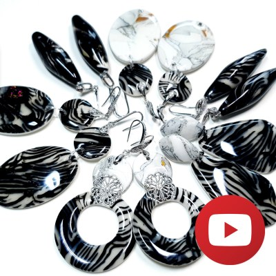 Polymer clay zebra jasper earrings