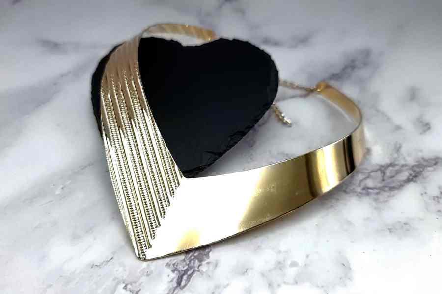 V Shape Golden color metal base necklace 7