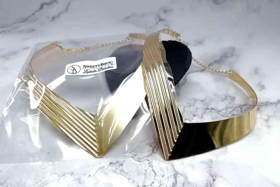 V Shape Golden color metal base necklace 8