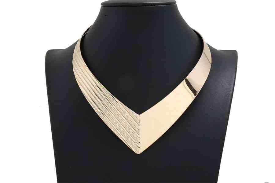 V Shape Golden color metal base necklace 11