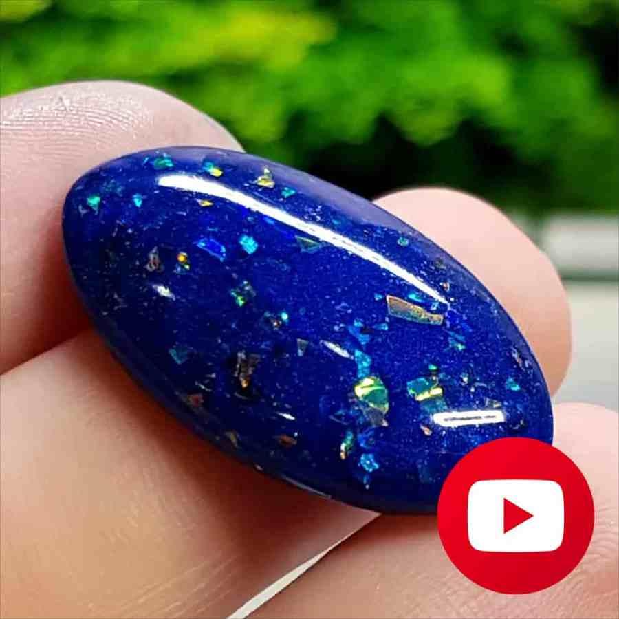 """How to make Faux Blue (""""Black"""") Opal stone imitation"""