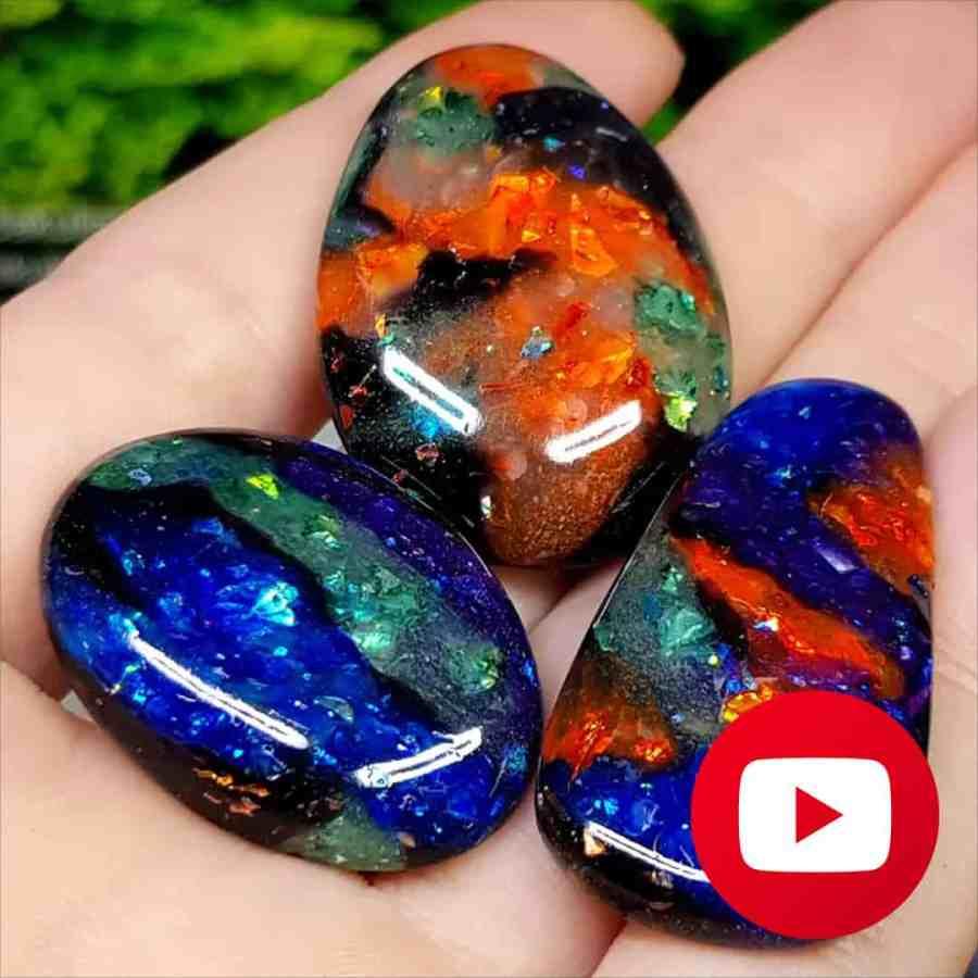 How to make Realistic Black Opal Stone imitation