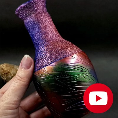 """How to make """"Raku"""" style vase with polymer clay"""