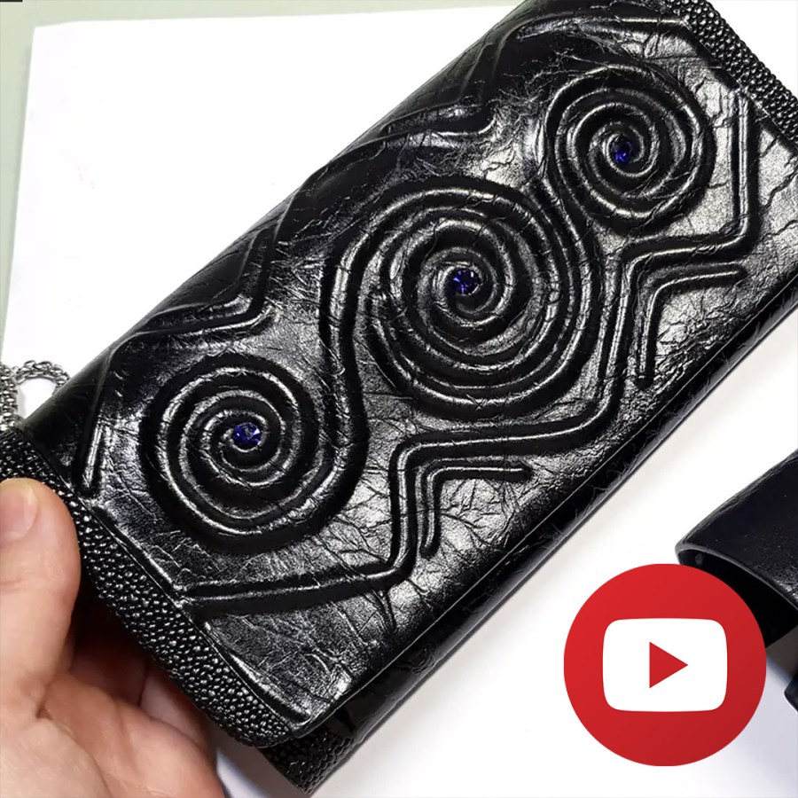 Unique polymer clay faux black leather clutch