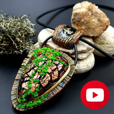 How to make faux wooden pendant with moss