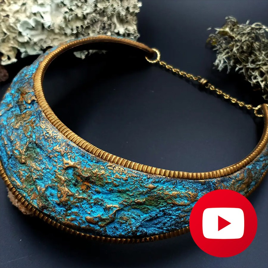 How to make faux stone rock necklace from polymer clay