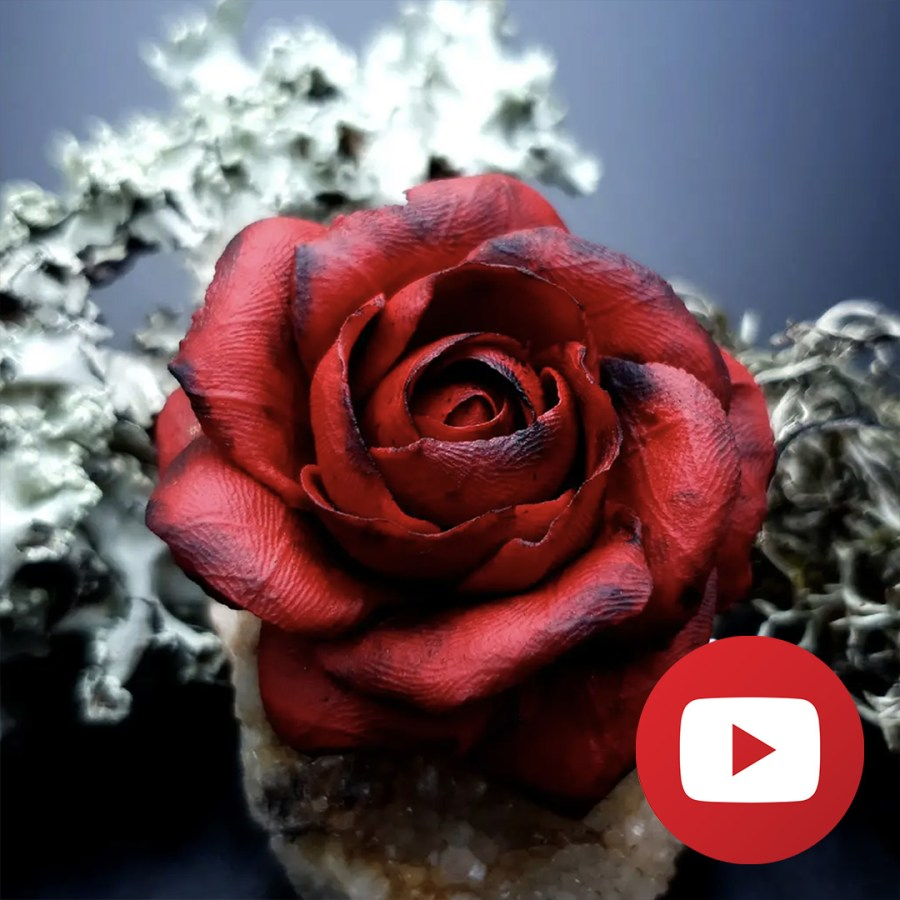 How to make faux leather rose from FIMO leather 1
