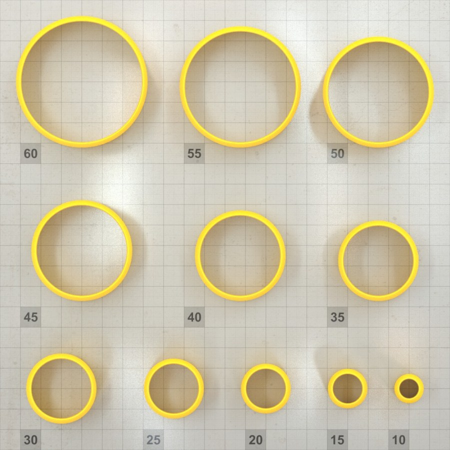Big set of 11 plastic cutters: CIRCLE