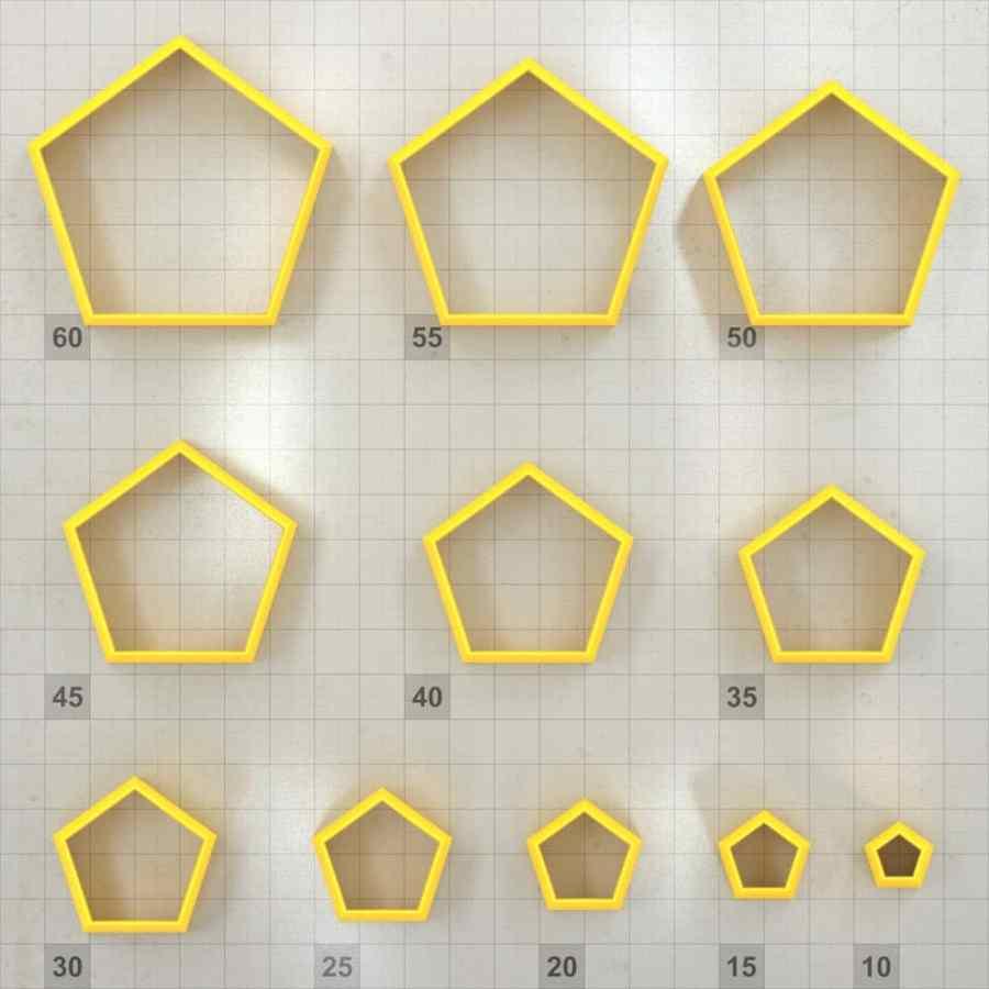 Big set of 11 plastic cutters: PENTAGON