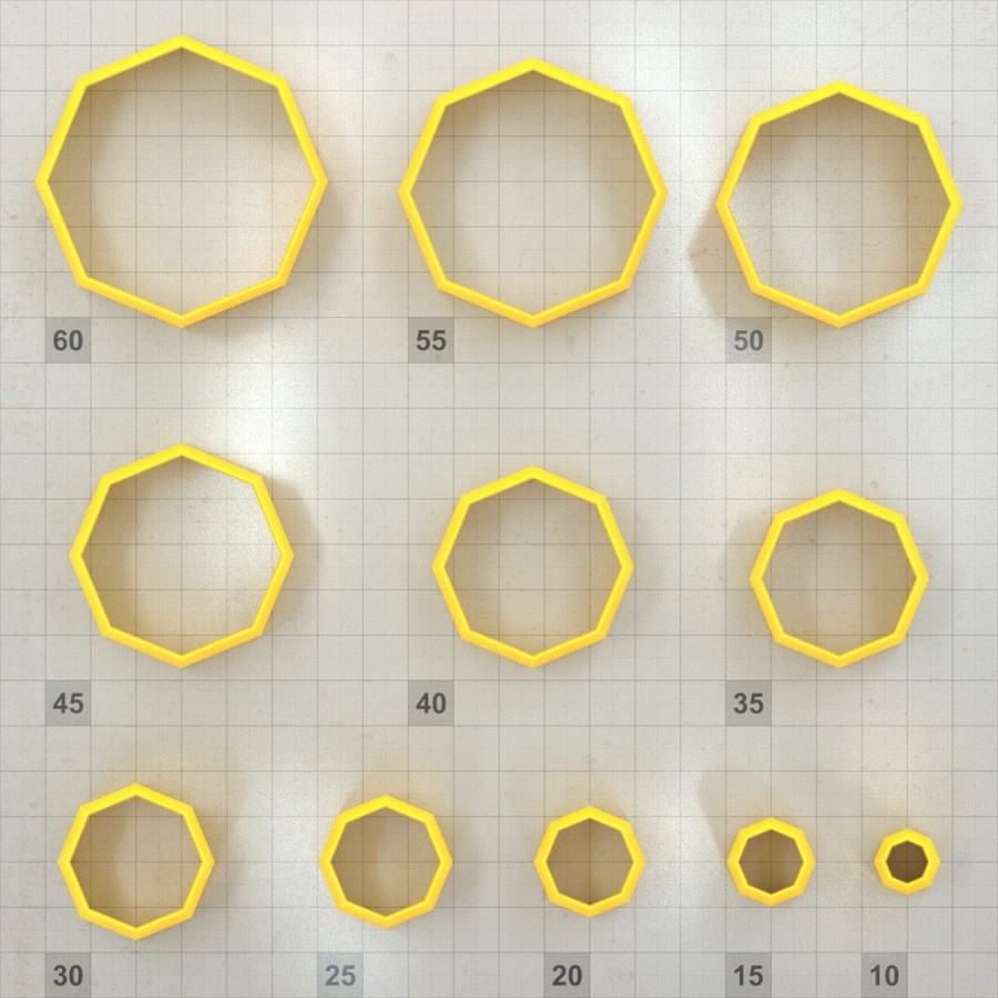 Big set of 11 plastic cutters: OCTAGON