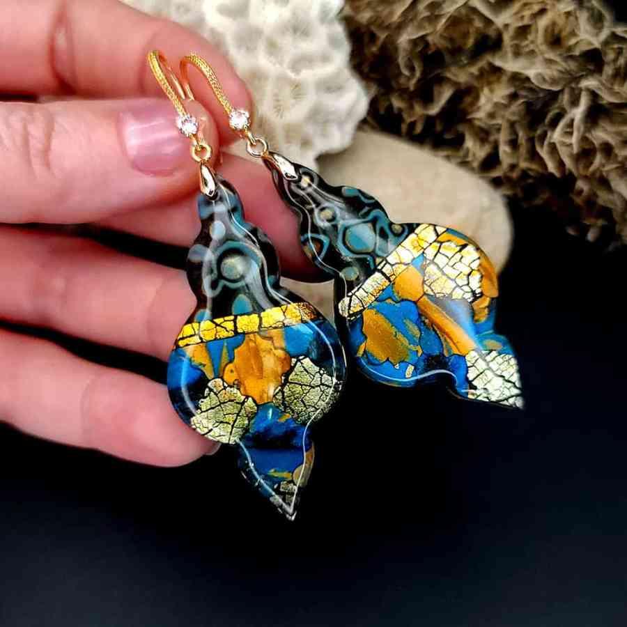 "Romantic Earrings ""Golden Mosaic"""