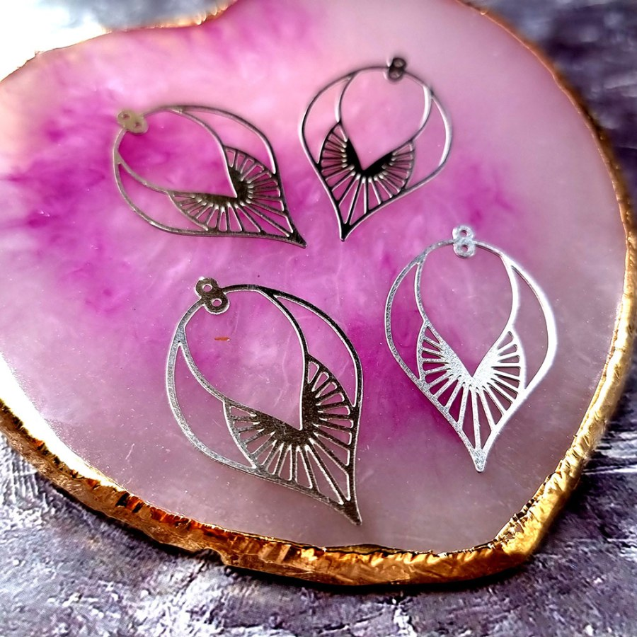 """4 Stainless steel Charms """"Silver Leaves"""""""