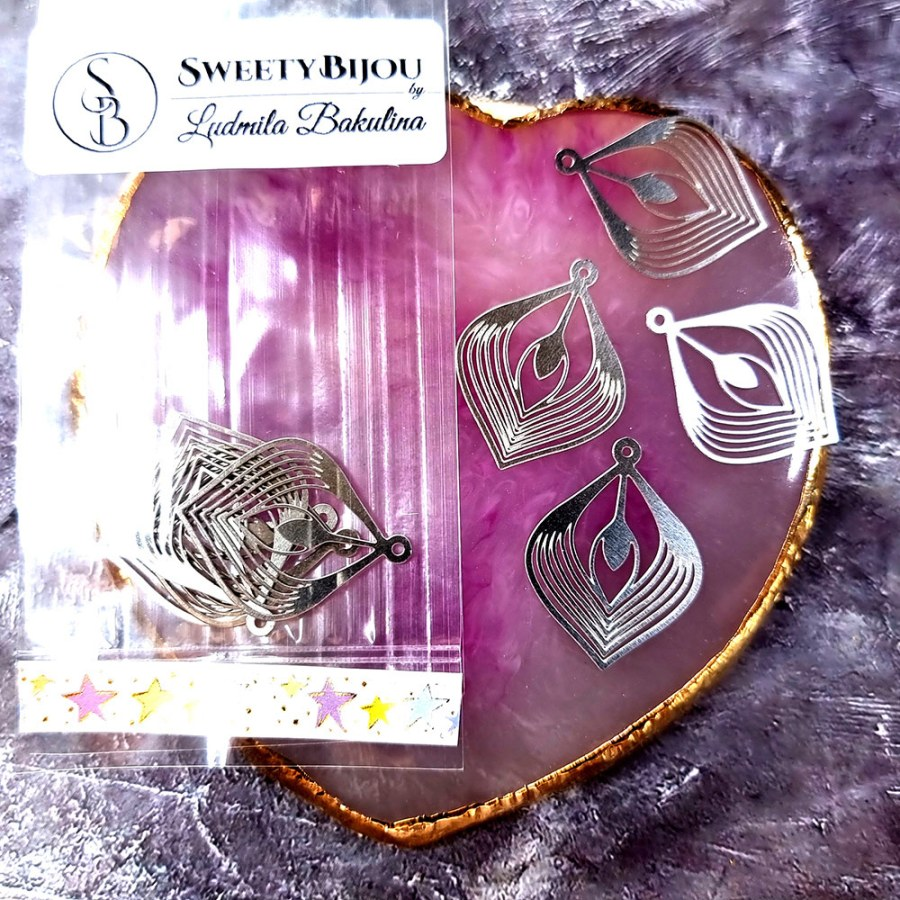 """4 Stainless steel Charms """"Silver Palm Leaves"""""""