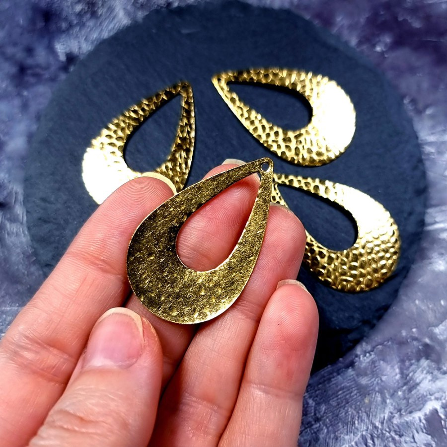 """4 Textured Golden color Charms """"Drops"""""""