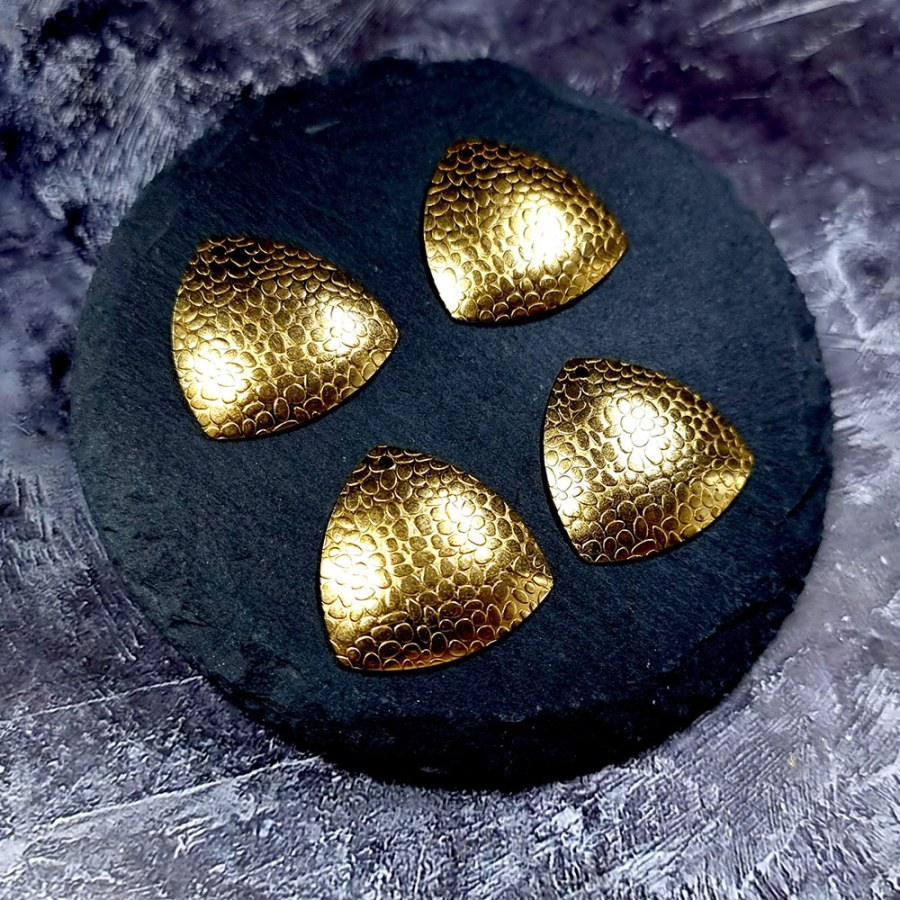 """4 Textured Golden color Charms """"Triangles"""""""