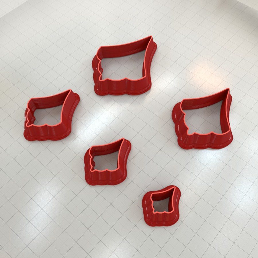 Set of 5 cutters: ROMANTIC#13