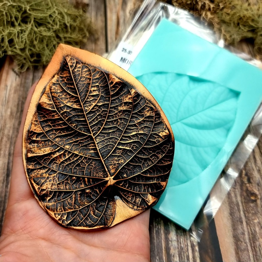 Morning Glory Leaf - Handmade texture-mold of real leaf