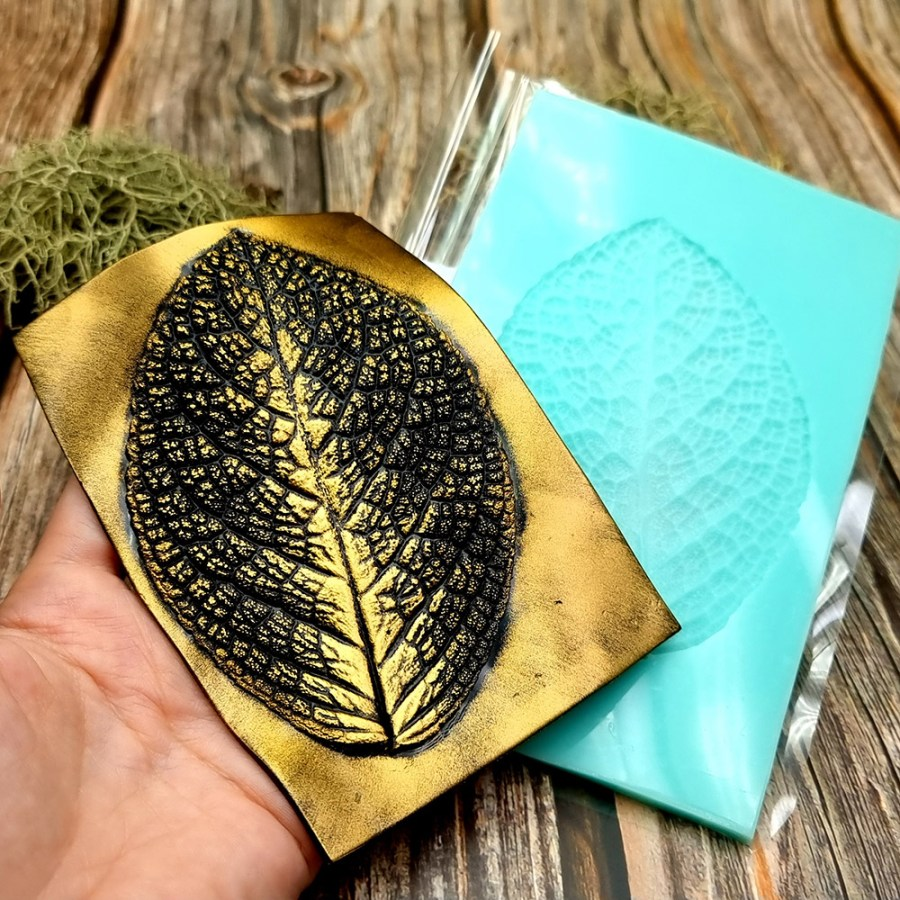 Large Leaf Pattern - Handmade real leaf texture-mold #3