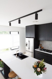 Black Kitchen Design Ideas With White Color Accent 04