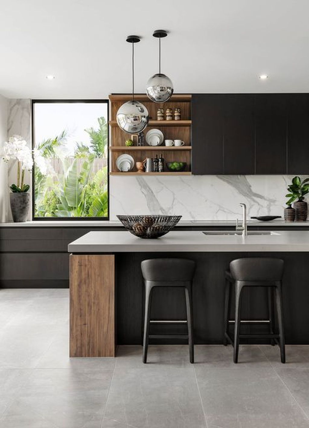 Black Kitchen Design Ideas With White Color Accent 17
