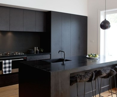 Black Kitchen Design Ideas With White Color Accent 27